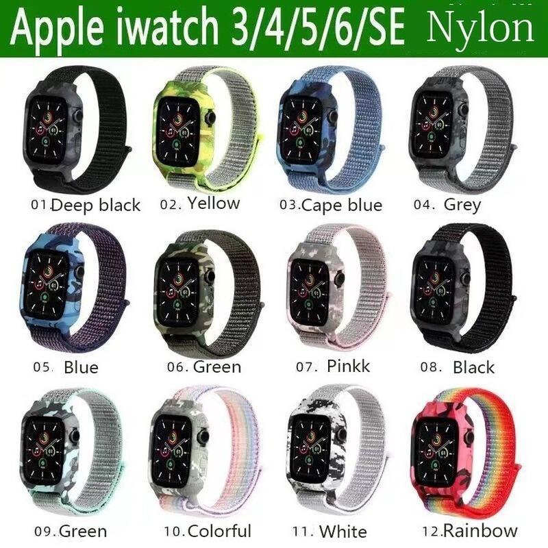 สายนาฬิกาข้อมือไนล่อนลายพราง + สายคล้องสําหรับ Apple Watch Band Series 6 Se 5 4 3 2 1 Iwatch 44 มม . 40 มม . 42 มม . 38 มม .