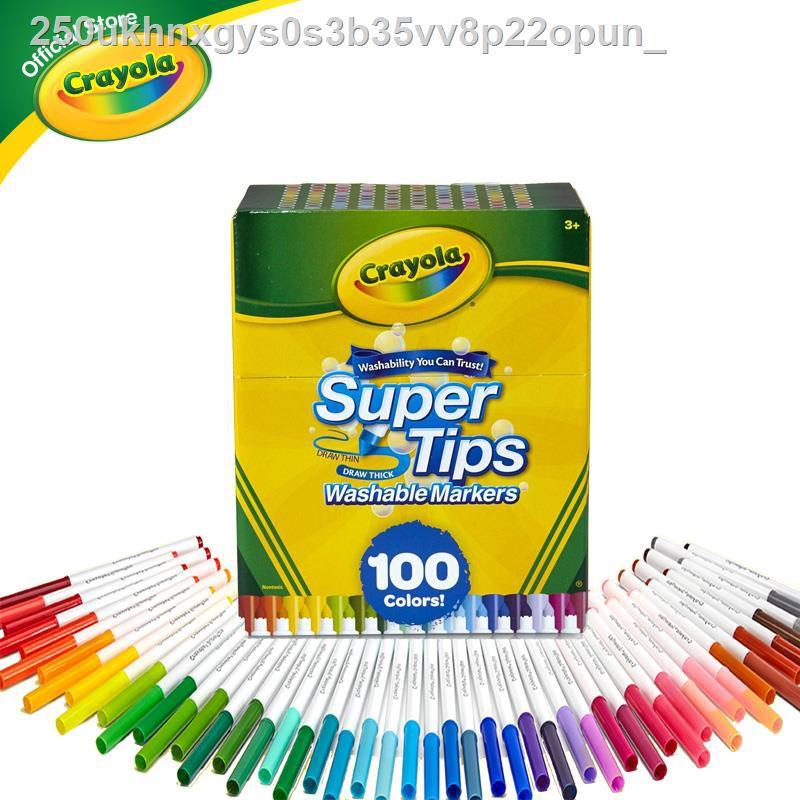 [มีสินค้า]◎▩▩Crayola Supertips เครโยล่าสีเมล้างออกได้ซุปเปอร์ทิปส์ 100 สีสำหรับเด็กชุด 3 ปีขึ้นไป super tips สีเมเม่สี