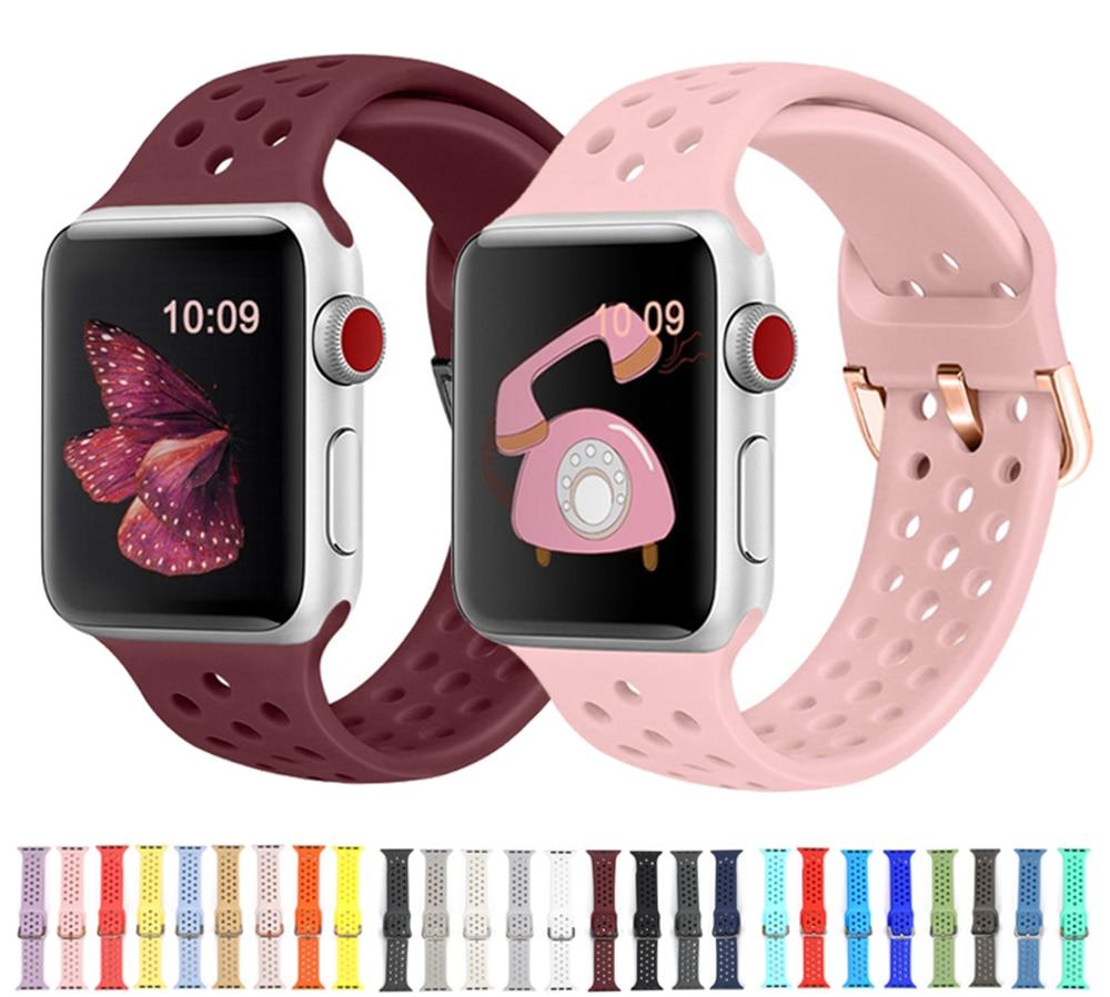 สายนาฬิกาข้อมือซิลิโคนสําหรับ Apple Watch 5 Band 44มม. 40มม. 38มม. 42มม. สําหรับ Iwatch Series 5 6 4