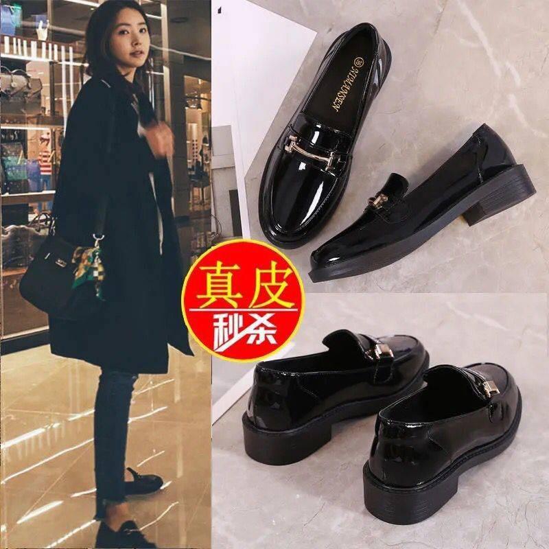 รองเท้าคัชชู รองเท้าผู้หญิง ♚Dani Ni หนังแท้รองเท้าหนังขนาดเล็กหญิง 2021 ฤดูใบไม้ผลิและฤดูใบไม้ร่วงสีดำป่ารองเท้าแบน La