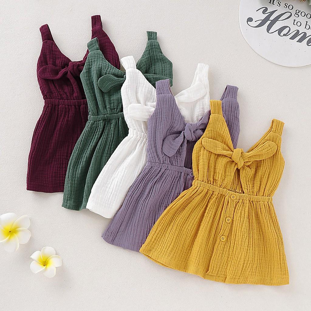 Baby Girls Summer Ruffles Sleeve Linen Party Princess Toddler Kids Dresses JD