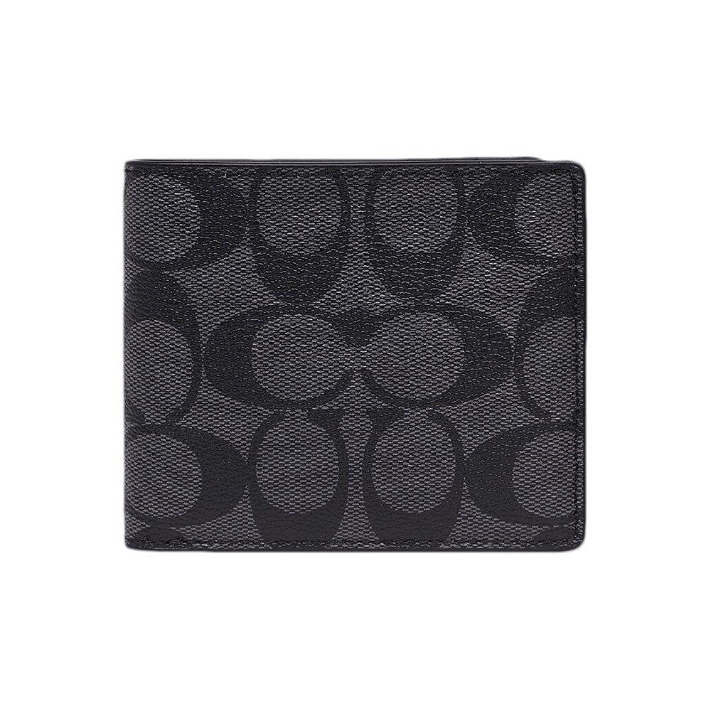 สหรัฐ mail โดยตรงCOACH กระเป๋าสตางค์ผู้ชาย COACH ใบสั้น PVC สีดำF75083CQBK