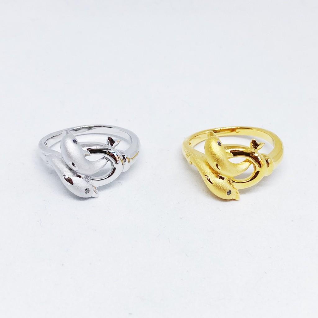 แหวนปลาโลมา เพชร cz ชุบทองไมครอน และซาติน ทองคำขาว ราคาพิเศษ