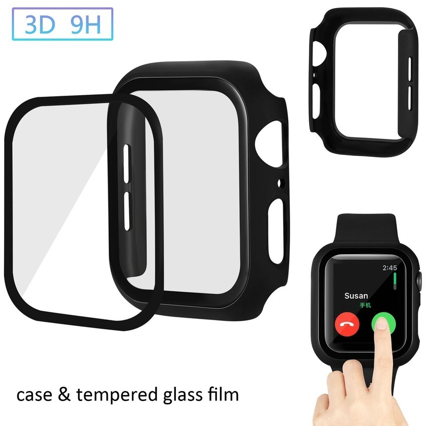 Tempered Glass For Apple Watch 38 42MM 40 44 MM Hard Cover Screen Film For iWatch Series 5 4 3 2 1 Screen Protector Case