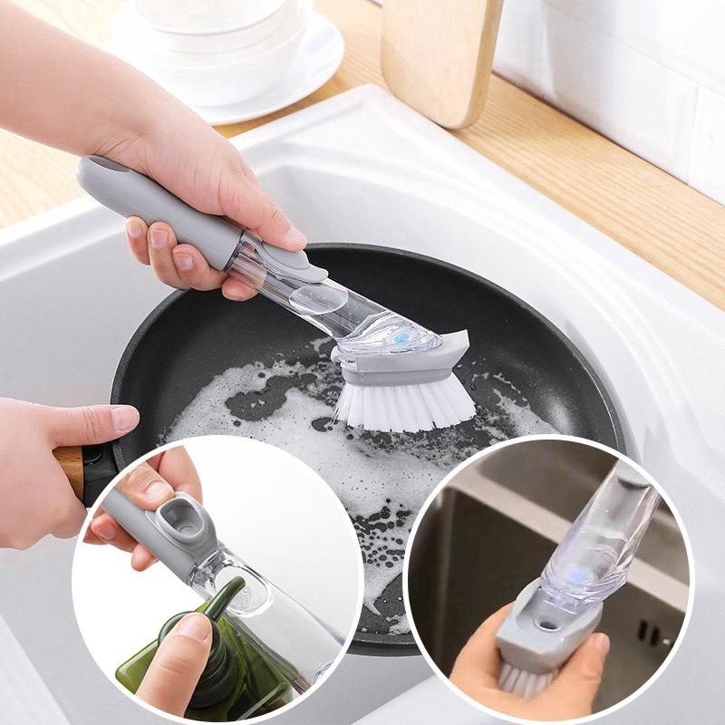 แปรงล้างจานเอนกประสงค์แบบเติมน้ำยาล้างจาน