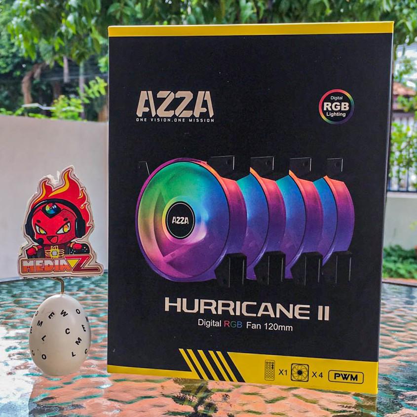 มีโค้ด10% AZZA 4 X HURRICANE II DIGITAL RGB FAN 120mm + Digital RF Remote