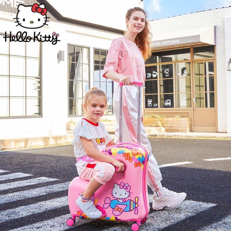 ⊙กระเป๋าเดินทางเด็ก HelloKitty สามารถติดตั้งบนรถเข็นกระเป๋าเดินทาง ผู้หญิง 20 นิ้ว รหัสการ์ตูน กระเป๋าเดินทางใบเล็ก 10 ข