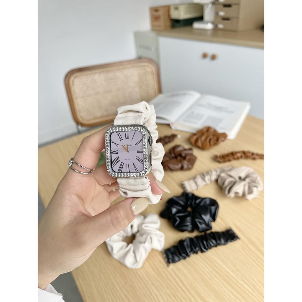 applewatch สายTATANเหมาะสำหรับapplewatchหนังแหวนลำไส้ใหญ่ส่งแหวนผมสายแอปเปิ้ลiwatch123456se
