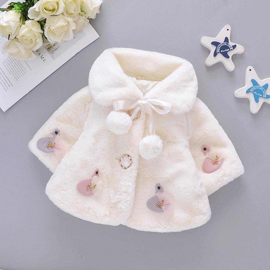 ❅❂✟2021 New Coat for women Toddler Baby Girls Winter Cartoon Faux Fur Cape Windproof Coat Warm Cloak