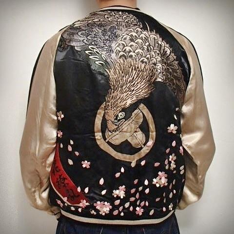 SUKAJAN แบรนด์แท้ญี่ปุ่น Japanese Souvenir Jacket แจ็คเกตซูกาจันลาย Sakura and Hawk