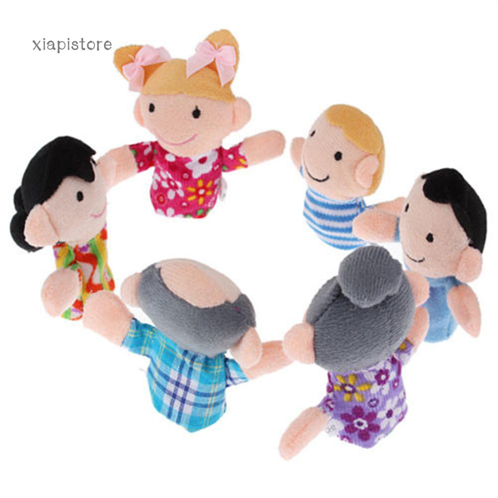 6PCS Mini Baby Kids Plush Cloth Play Game Learn Story Family Finger Puppets Toys