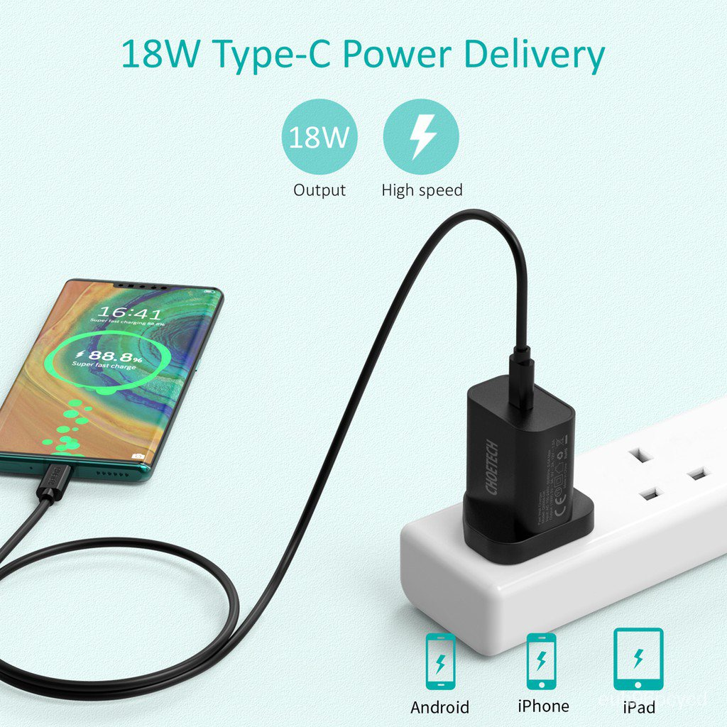CHOETECH PD 18W Power Delivery Type C Wall Charger USB C Adapters Type-C PD Adapter Chargers Super Fast Charge Charging