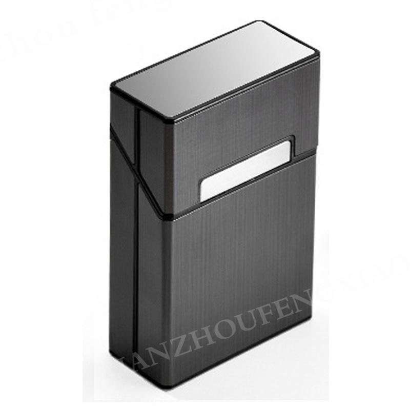 กล่องซิการ์:10CS Automatic Cigarette Case Metal Cigarette Boxes Cigarette Holder Case Lighter Gadget Tools For Men Women