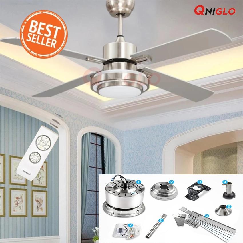 QNIGLO พัดลมเพดานรีโมท Fan 5 blades Cooling LED Ceiling Fans Energy Saving With Remote Control(เงิน)