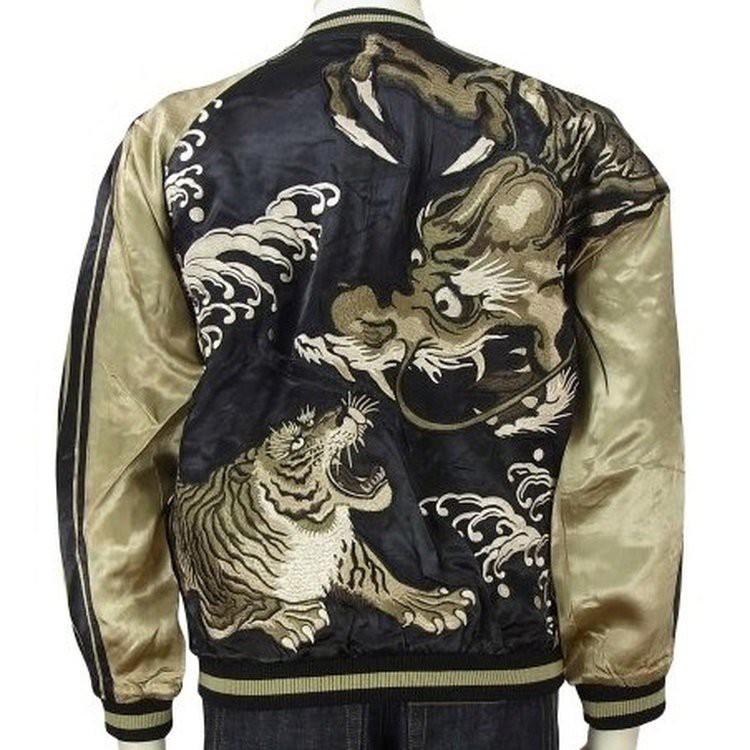 SUKAJAN แบรนด์แท้ญี่ปุ่น  Japanese Souvenir Jacket  แจ็คเกตซูกาจันลาย Tiger vs Dragon