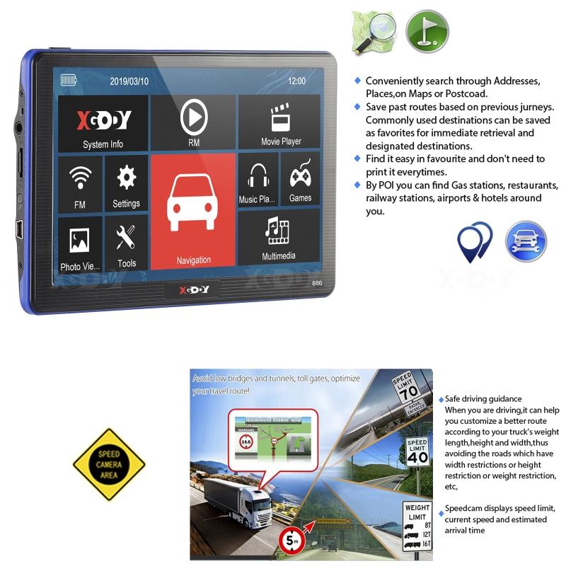 """7/"""" Car Truck GPS Navigation Navigator Lorry Coach Sat Nav Map Update Speedcam"""