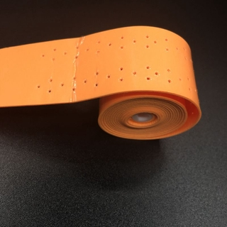Please COD 10pcs Orange Anti-slip Tennis overgrips PU Sticky  perforated squash rackets Overgrips Sweat absorbed wraps N