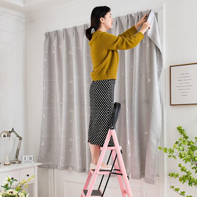 🌹 ไม่ต้องเจาะตีนตุ๊กแกสไตล์โมเดิร์นผ้าม่านทึบผ้าม่านสำเร็จรูปห้องนอนห้องนั่งเล่นผ้าตกแต่งบ้าน