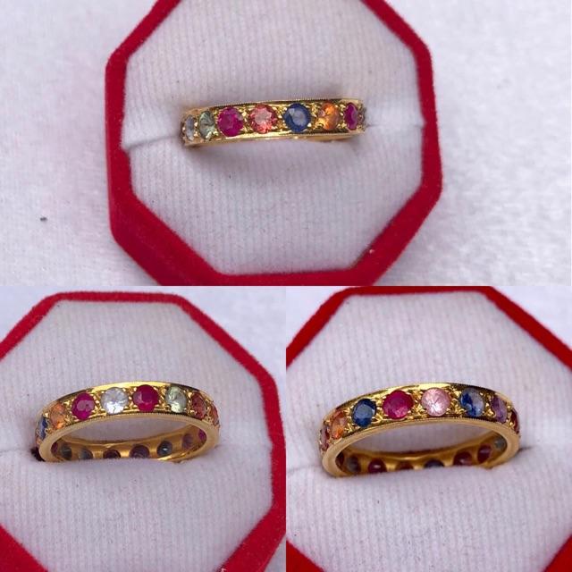 แหวนนพเก้า รอบวง พลอย 18 เม็ด น้ำหนักรวม 3.44 กรัม 💰💰💰ราคา13,000บาท💰💰💰  ทองหนัก 3.85 กรัม พลอยหนัก 3 กะรัต A25547