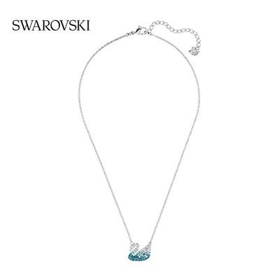 ○ㇼเครื่องประดับเพชรพลอยสร้อยคอSwarovski สีฟ้าหงส์ (ใหญ่) Iconic Swan สร้อยคอผู้หญิงคลาสสิก