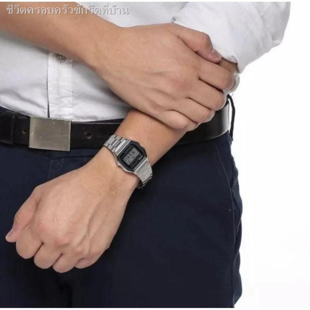 อุปกรณ์﹍Casio นาฬิกาข้อมือผู้ชาย สายสแตนเลส รุ่น A158WA-1DF - สีเงิน