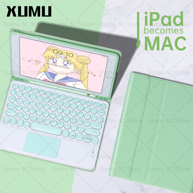 Xumu Macaron Candy Magic Magnetic Round Keycap Keyboard Touchpad Case For Apple iPad Air 4 4th gen 10.9 Pro 11 12.9 8th gen 10.2 Air3 Pro 10.5 6th 9.7 inch 2018 2020 Wireless Bluetooth Keyboard With Pencil Slot Holder Cover