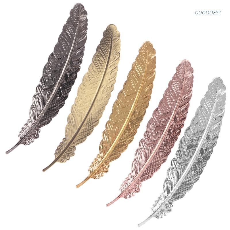 GOO Creative Retro Feather Shaped Metal Bookmark Page Marker For Books Office School