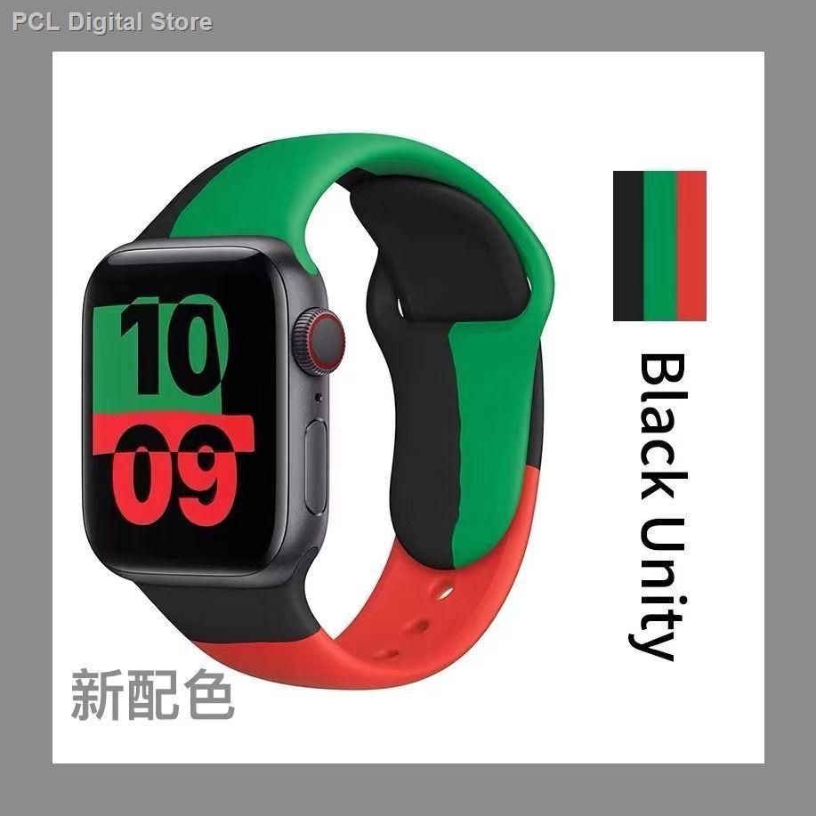 【อุปกรณ์เสริมของ applewatch】♧เหมาะสำหรับสาย Applewatch ซิลิโคนสีใหม่ iwatch universal 123456