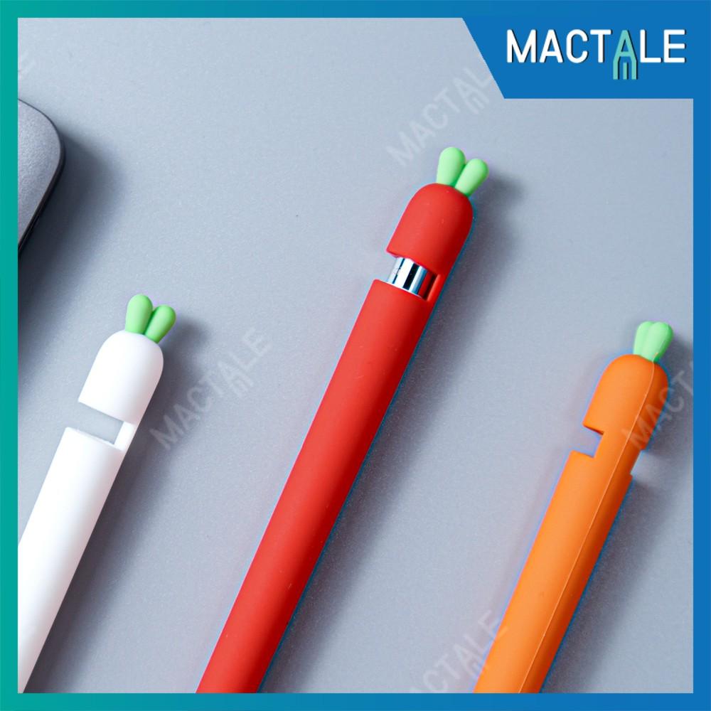 Mactale ปลอกปากกาซิลิโคน Apple pencil case Gen 1, 2 Stylus แครอท เคสปากกา จุก เคสเก็บปากกา เคสซิลิโคน สไตลัส Cap แถม qFb