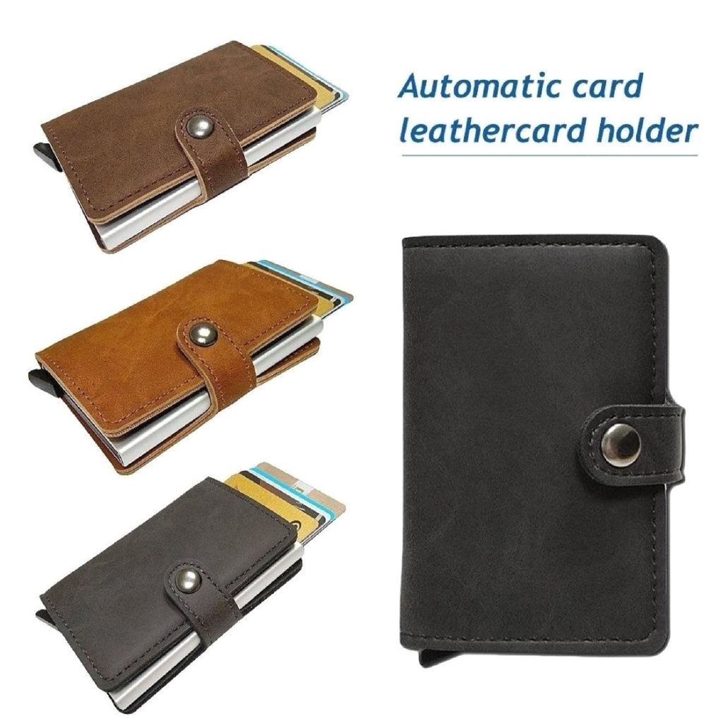 Credit Card Holder Fashion PU Leather Metal With RFID Protection For Men