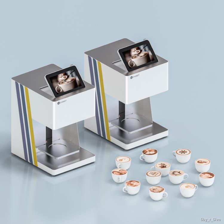 ♣คำตอบ ชานมทำนาย EVEBOT Yiwa เครื่องทำกาแฟลาเต้ 3 มิติ Pastry Biscuit Douyin Milk Foam Milk Cover Printer