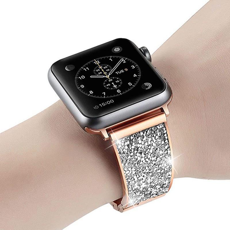 【การจัดส่งที่รวดเร็ว】สายเพชรผู้หญิงสำหรับ Apple Watch Bands 5 4 40mm 44mm iWatch Band Series 3 2 38mm 42mm Watchband Stainless steel link Bracelet