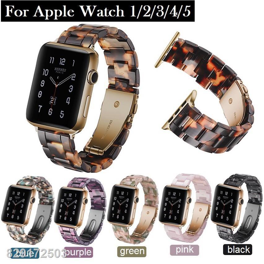 ☌สายนาฬิกา Apple Watch Resin Straps เรซิน สาย Applewatch Series 6 5 4 3 2 1,  SE Stainless Steel สายนาฬิกาข้อมือ for Se