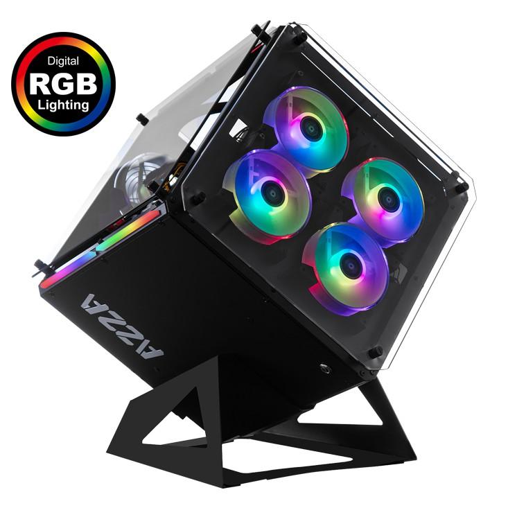 ผ่อน0% Case AZZA Cube 802 RGB ( เคสเปล่าว พร้อมชุดไฟ rgb )