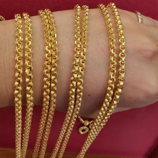 สร้อยคอทอง 96.5%  น้ำหนัก 2 สลึง ยาว 24.5-30cm  ราคา 14,900บาท