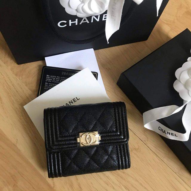 แท้จริงNew Chanel boy wallet holo 28 กระเป๋าสตางค์ชาแนล ของแท้ 100%