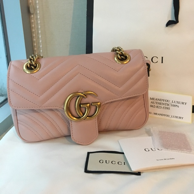 6ad06587095 Like new Gucci marmont 22cm light pink color ปี 2017