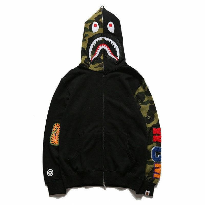A Bathing Ape Camo Shark Jaw Jacket Bape Camouflage Windbreaker Zip Hoodie Coats