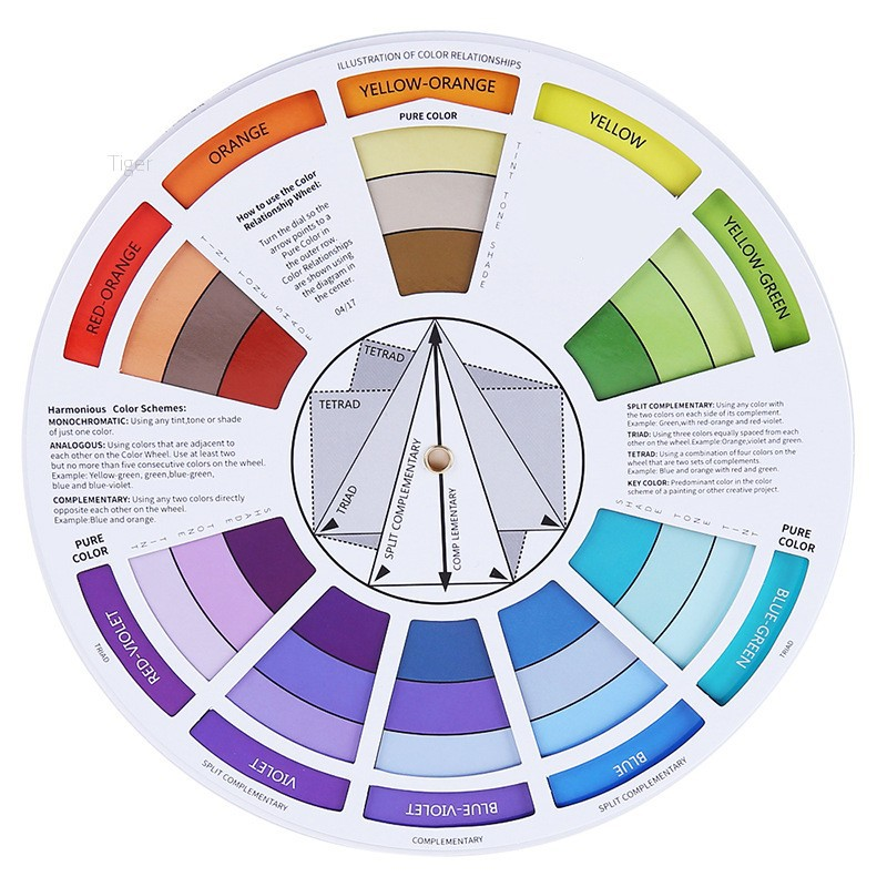 1pcs 14cm-Portable Color Wheel Mixing Guide For Tattoo Hobby Makeup N9G8 P9M5