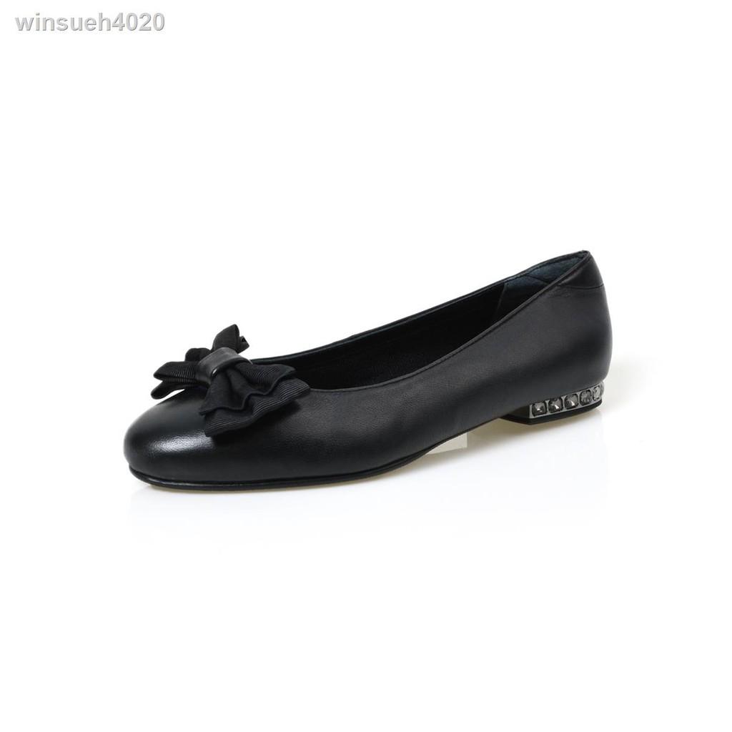 รองเท้าผ้าใบผู้หญิง❄รองเท้าคัชชูหนัง POLO CLUB รุ่น P1795 รองเท้าส้นแบนติดโบว์ส้นประดับเพชรสีดำ
