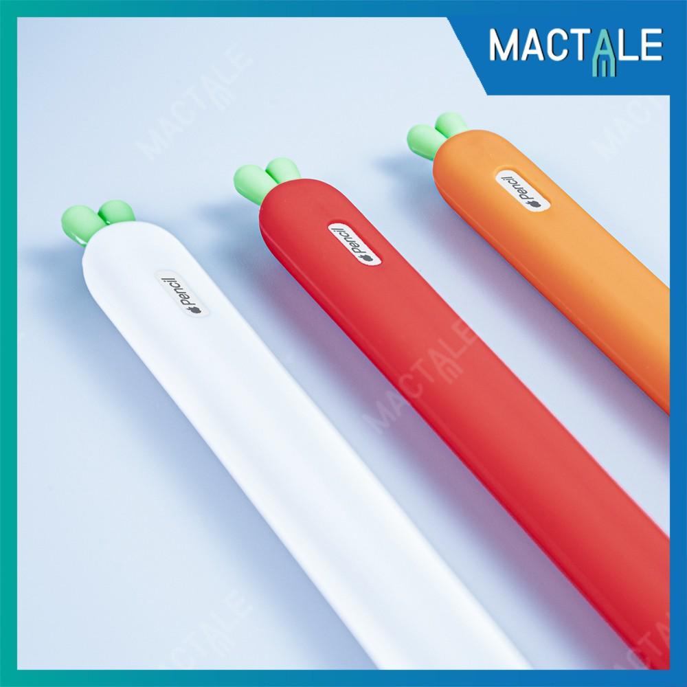 Mactale ปลอกปากกาซิลิโคน Apple pencil case Gen 1, 2 Stylus แครอท เคสปากกา จุก เคสเก็บปากกา เคสซิลิโคน สไตลัส Cap แถม 0p7