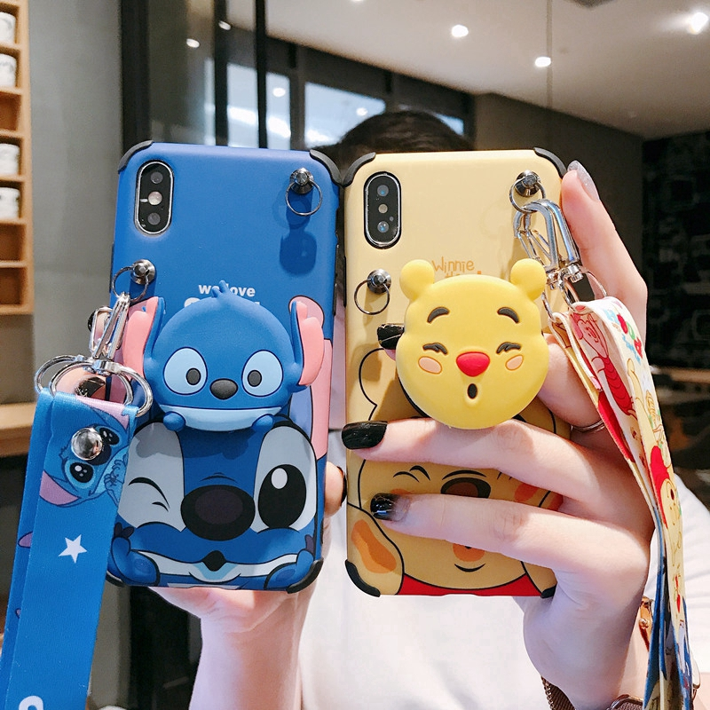 With Lanyard Winnie The Pooh Shockproof Case IPhone X XS Max IPhone 6 6S 7 8 Plus Gasbag Stand