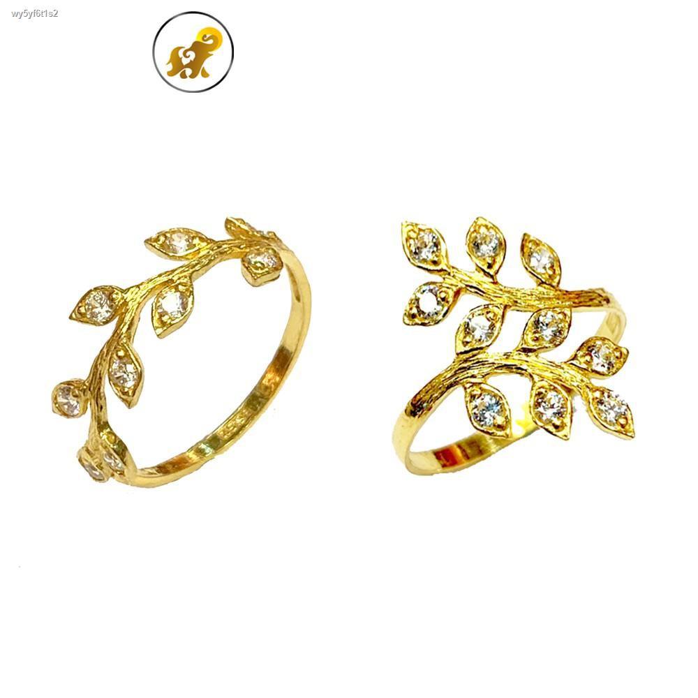 ราคาต่ำสุด✲PGOLD แหวนทองครึ่งสลึง เพชรสวิสใบมะกอก หนัก 1.9 กรัม ทองคำแท้ 96.5% มีใบรับประกัน