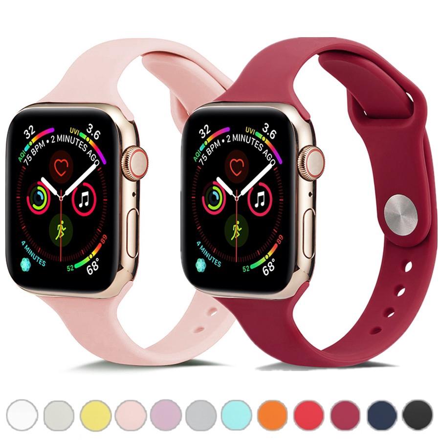 สายนาฬิกาข้อมือ Apple Watch Band 38มม 42มม 40มม 44มม Slim Sport Silicone Strap for iWatch Series 6 SE 5 4 3 2 1