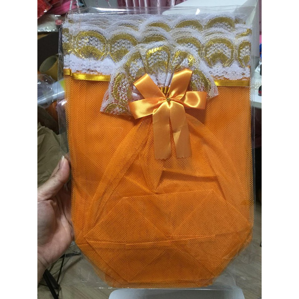 1 แพ็ค 10 ห่อ ถุงสังฆทาน มีโบว์ ถุงใส่สังฆทาน เฉพาะถุง  S / M / L สีทอง สีเหลือง