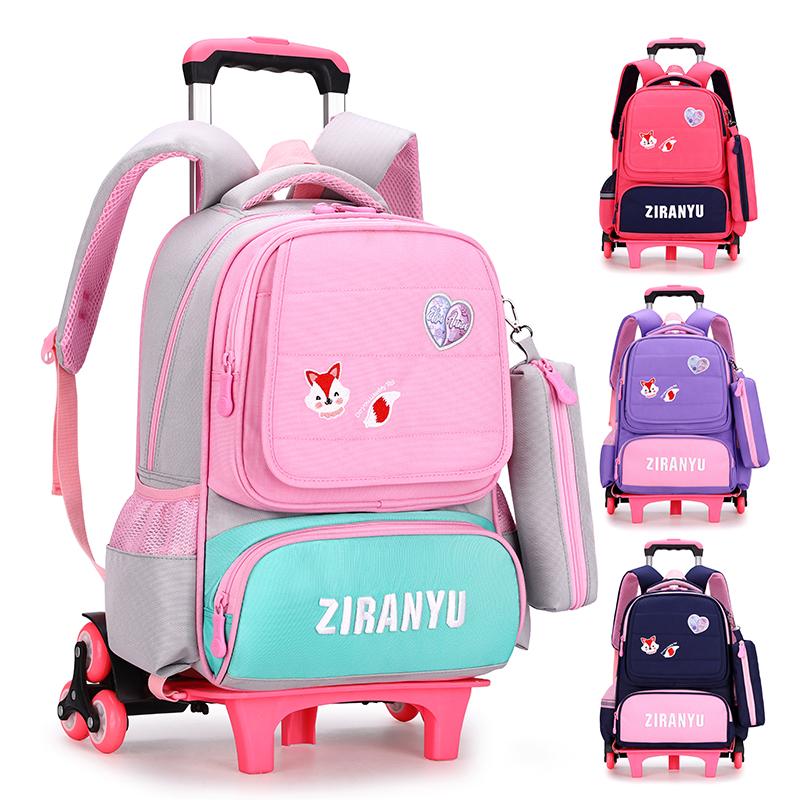 ♥⅜กระเป๋าใส่รถเข็นเด็ก  กระเป๋าเดินทางกลางแจ้ง กระเป๋านักเรียนแรกเกิดชั้นประถมศึกษาปีที่รถเข็นสาว6-12ปีเด็กลากไหล่เจ้าหญ