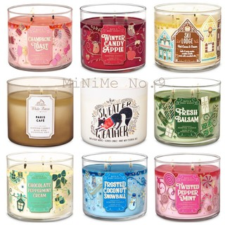 ✨Set2/7✨BBW เทียนหอม Fresh balsam/ Paris Cafe/ Sweater Weather Bath and Body Works White Barn 3 Wicks Candle 411g.