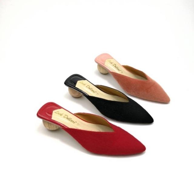 รองเท้าผู้หญิง คัชชูส้นไม้กลม เปิดส้น กำมะหยี่พร้อมส่ง✨ไซต์36-40 พิเศษสุดดด‼️