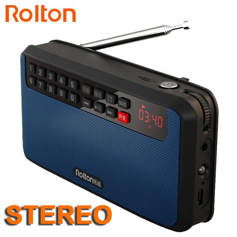 RoltonT60 MP3 Stereo Player Mini Portable Audio Speakers FM Radio With LED Screen Support TF card Playing Music LED