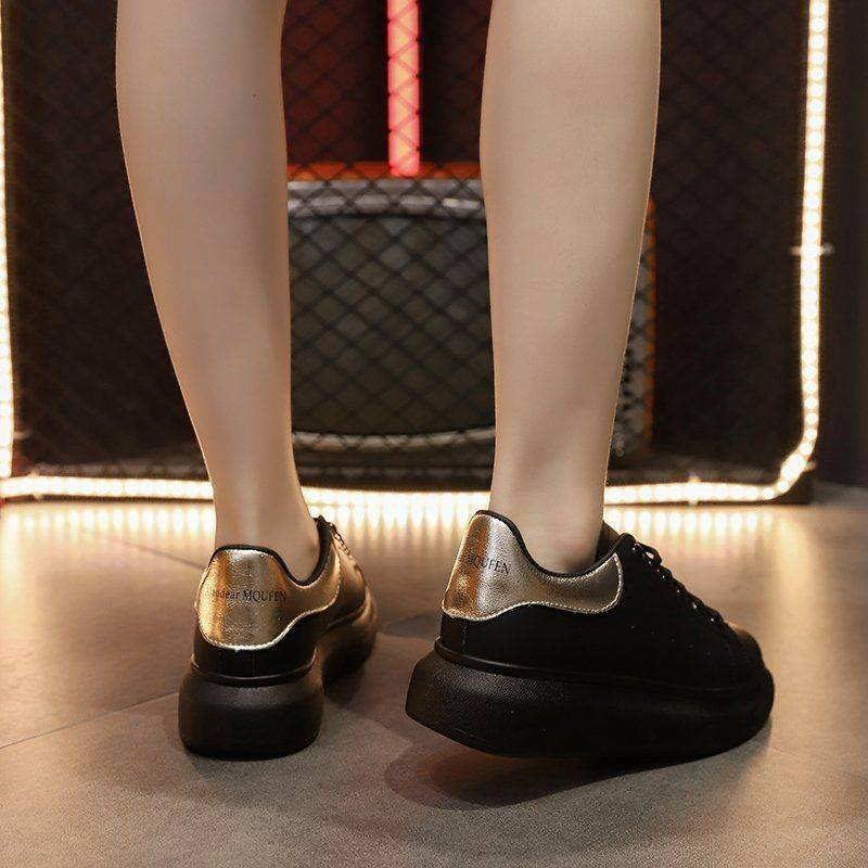รองเท้าผู้หญิง รองเท้าคัชชู ร้องเท้า ✳ฤดูใบไม้ผลิและฤดูใบไม้ร่วงรองเท้าสีดำขนาดเล็กหญิงเวอร์ชั่นเกาหลีของผิวรองเท้าแบนรอ